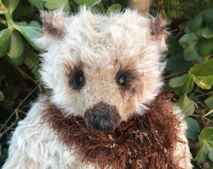 RESERVED- Barnaby - 16 inch oat fluffy mohair bear