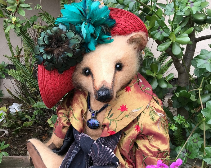 RESERVED ***Lady Cynthia-24 inch caramel mohair lady bear in embrodered coat & bonnet