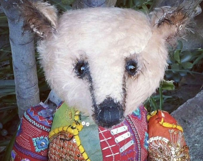 RESERVED***Harmony honey - 17 inch honey mohair with antique beaded patchwork bear