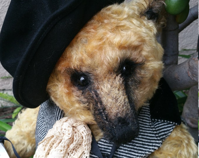 RESERVED***Truly Dapper - 20 inch blonde tufty mohair bear in vintage waistcoat, lace neck scarf & hat