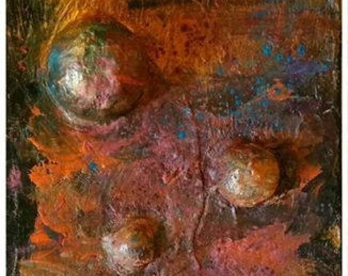 "Continuum IV - 13 "" x 17"" - sculptural planetary painting (ideally sold with Continuum V & VI)"