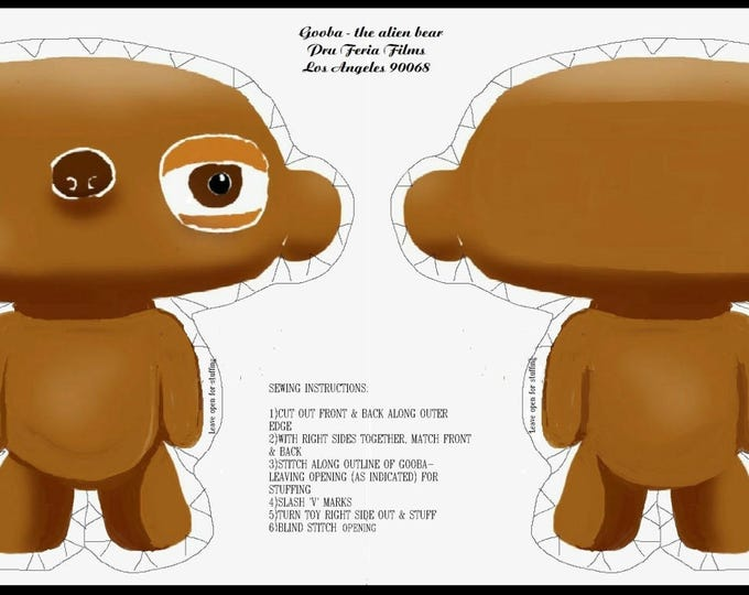 Gooba - the alien bear as a DIY kit. Part of my animation series - Billyboy Burbank's Cosmic Cuisine - in cotton and fleece.