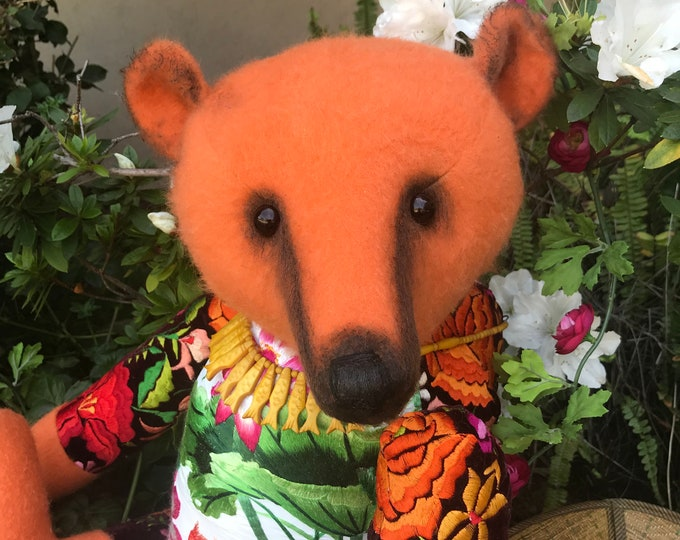 RESERVED***Water dreams - 27 inch  mohair bear with vintage silk & velvet embroidery