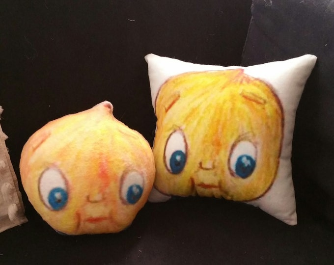 Chico Chickpea art doll head / cushion -  part of  the Chicopees collection featured in BbBb's Cosmic Cuisine cookbook & animated series