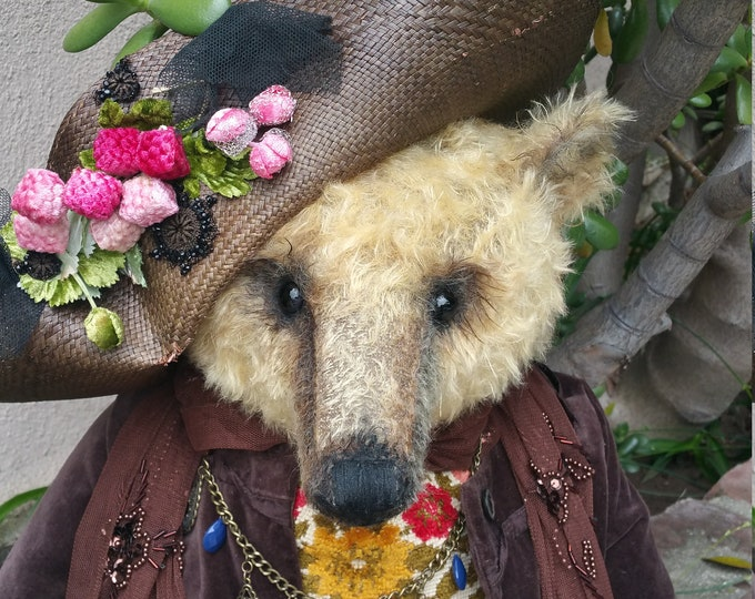 RESERVED*** Lady Tonja - 27 inch golden tufty mohair with vintage embroidered front  lady bear in velvet coat & bonnet