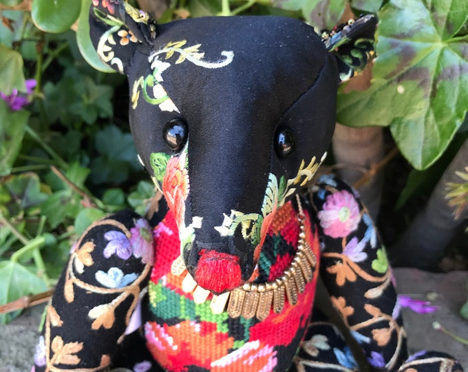 RESERVED ***Esme - 12 inch silk, needlepoint & embroidered bear