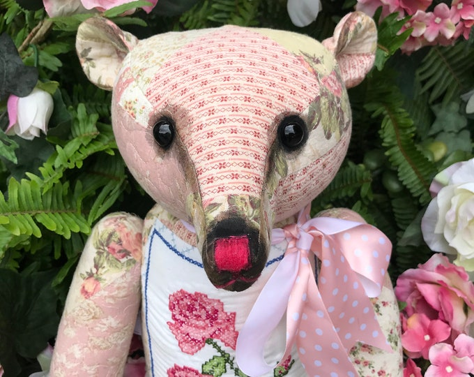 June bear - 21 inch vintage patchwork bear with floral cross stitched front