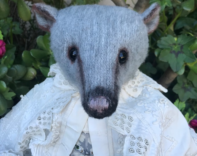 RESERVED ***Forever Love  -20 inch grey sparse mohair bear with vintage cross-stitched front