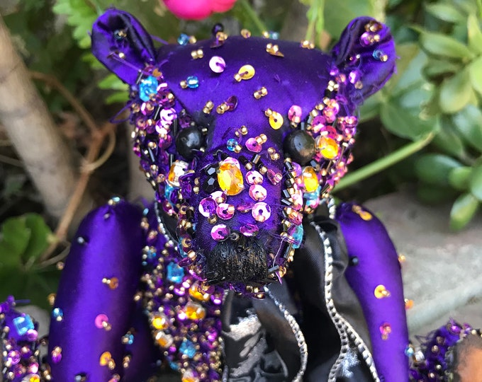 RESERVED- Jewels -10 inch vintage beaded bear