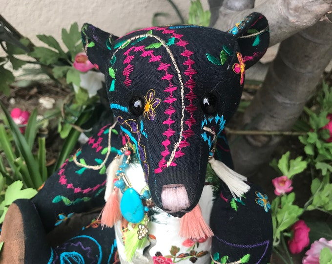RESERVED ***Paisley flight - 14 inch vintage embroidered bear with silk embroidered birds