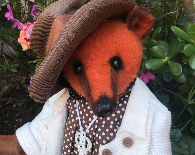 RESERVED ***Darling Dotty- 20 inch orange bear in dress, hat & coat