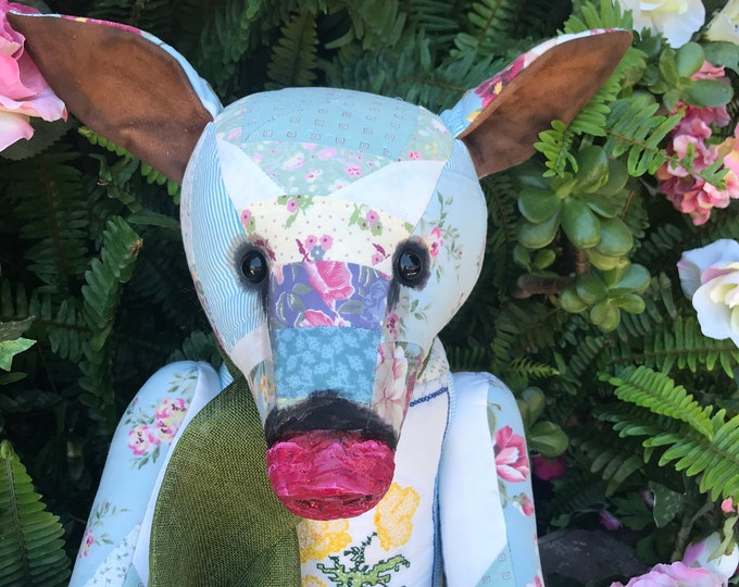 RESERVED ***August -28 inch vintage patchwork pig with floral cross stitched front