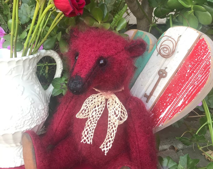 RESERVED ***Little Red- 16 inch mohair bear