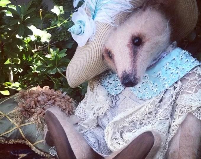 "RESERVED - Countess Clara - 26"" honey mohair dressed lady bear"