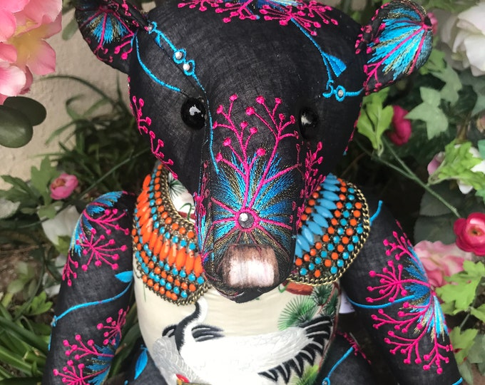 RESERVED ***Starburst - 20 inch vintage embroidered bear with silk embroidered birds