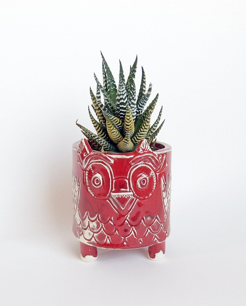 Owl style planter Red plant pot MADE TO OEDER Home decor dish Red ceramic planter Succulent planter Medium plant pot