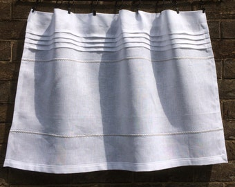 Linen Cafe Curtain, White Grey Window Curtain, Farmhouse Kitchen, Privacy Bathroom Shade Embroidery