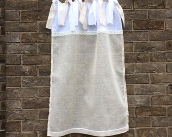 Sheer Linen Cafe Curtain, New Homeowner, Linen Kitchen Curtain, Natural White Sheer Linen Panel, French Decor, Tab Top Panel