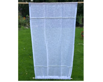Sheer white linen sidelight privacy curtain