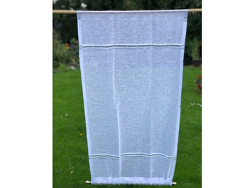 Sheer White Linen Ladder Panel, Sidelight Curtain, Monogram Front Entrance Door Panel, Glass French Door Privacy Curtain