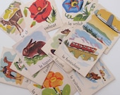 french flash cards, animal flash cards, vintage french, kids 12