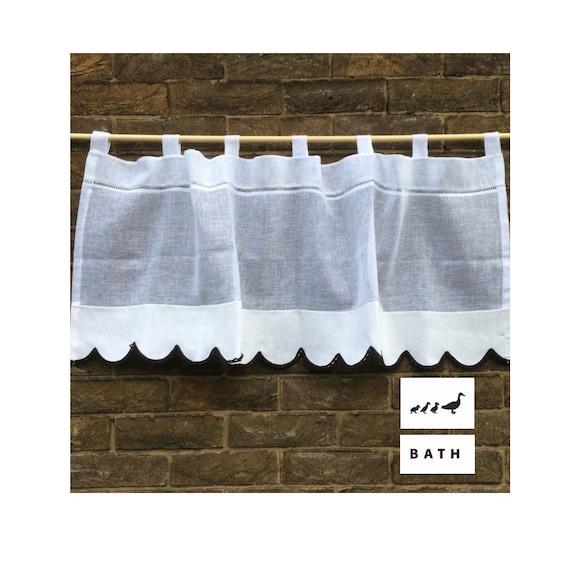 Transparente Bad Vorhang, weißes Leinen Fenster Topper, Jakobsmuschel Ente  Vorhang, Bad schwarzen Stickerei, Schleife oben Cafe Vorhang