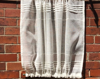 Sheer Ivory Linen Window Panel, Kitchen Cupboard Door Curtain, French Ivory Linen Cabinet Curtain, Monogram Window Sidelight Curtain