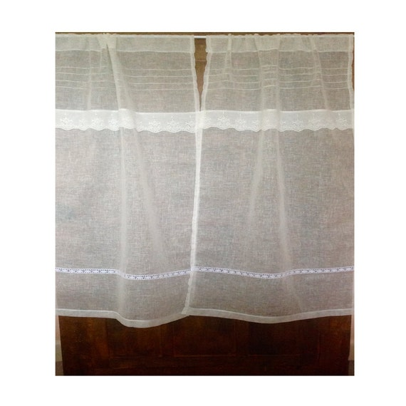 Ivory Linen Lace Curtain Sheer Bedroom Window Curtain French Style Ivory Lace Curtain Off White Net Curtain