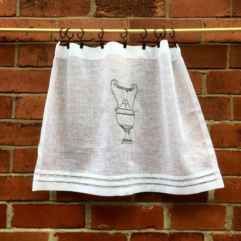 Sheer Window Curtain Italian Cafe Curtain Custom White Linen Embroidered Lace Panel European