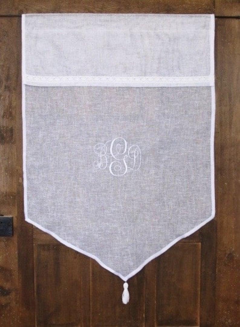 Embroidered Monogram White Tassel Kitchen Curtain Sidelight Panel French Decor Bathroom Curtain