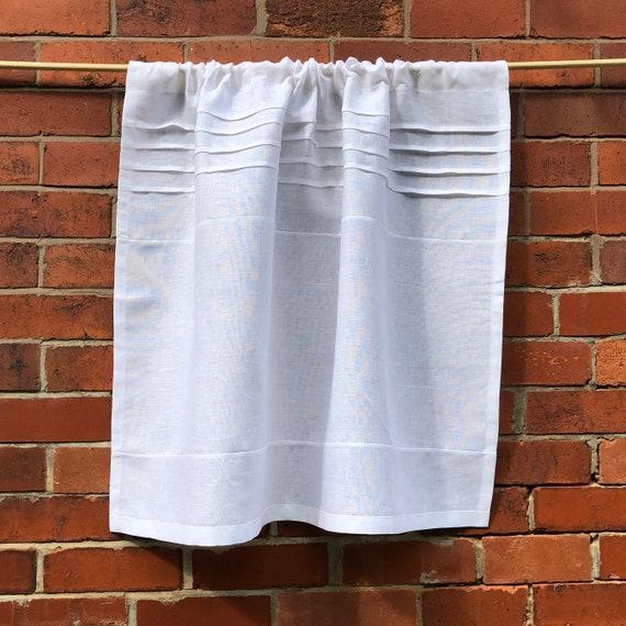 White Cafe Panel 100% Flax Linen Curtain Paris Kitchen