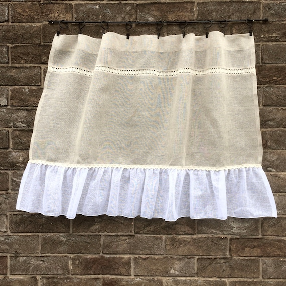 Cortina de voile de lino cocina rústica Natural cortina de