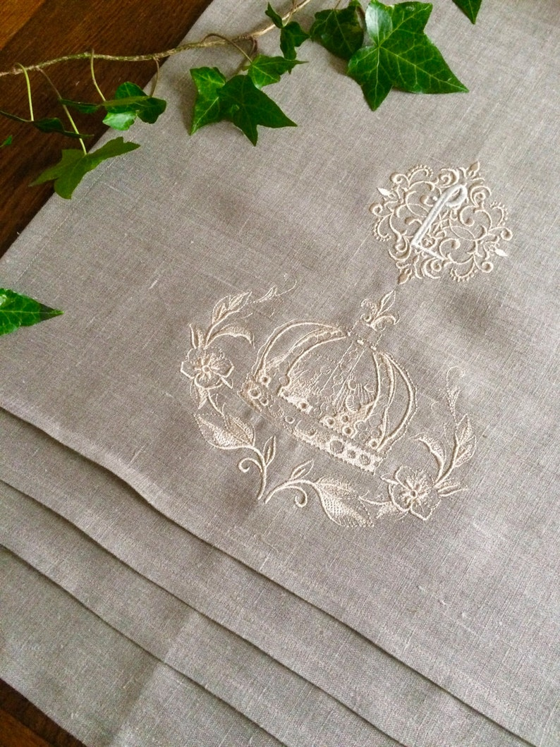 Monogram Linen Table Runner Crown Wreath Custom Embroidery Buffet Cloth  Wedding Kings Table Runner 108 inches long