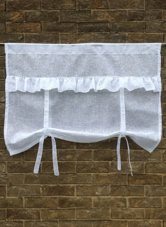 Ruffle French Window Curtain Natural Sheer Tie Up Valance Length 28 inches Personalised Embroidered Monogram