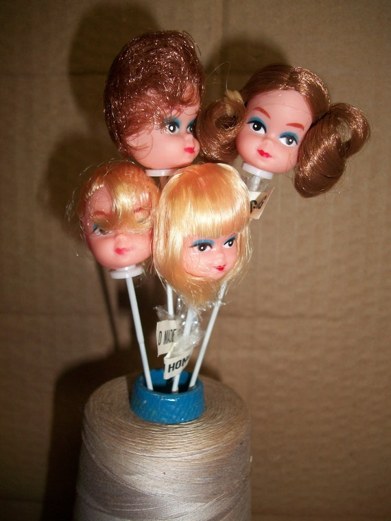 "4 Craft Miniature 1/"" Vinyl Brunette Brown Hair Girl Doll Heads Wire Stick Pick"