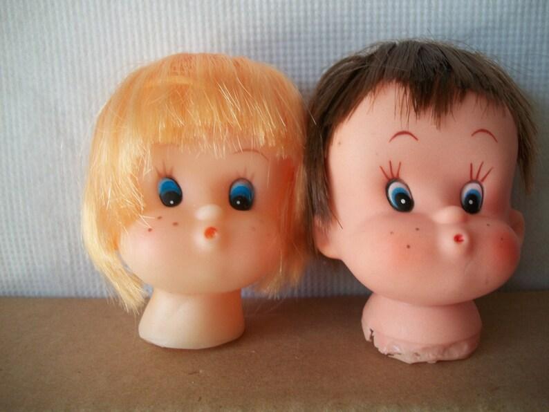 Small Vintage Plastic Vinyl 3-Inch Doll Head