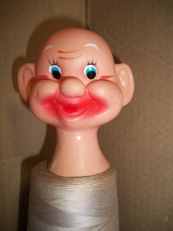 Small Vintage Japan Funny Plastic Dwarf or Old Man Head