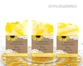 Handmade Soap Favors for Weddings, Bridal Shower Soap Favors, Wedding Favors, Bridal Shower Gifts , Baby Shower Favors, Burlap Sunflower