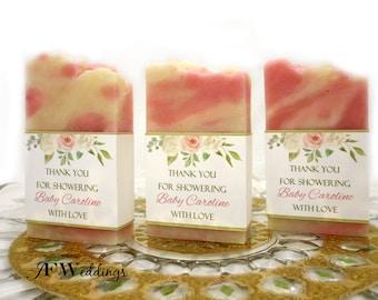 50 Pink Boho Floral, Bridal Shower Party Favors, Soap Favors, Wedding Favor, Custom Favor, Personalized, Bridal Shower Gift, Baby Shower
