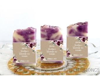 Bridal Shower Soap Favors, Soap Favors for Weddings, Shower Soap Favors, Handmade Soap Favors, Baby Shower Favor, Kraft Purple Floral