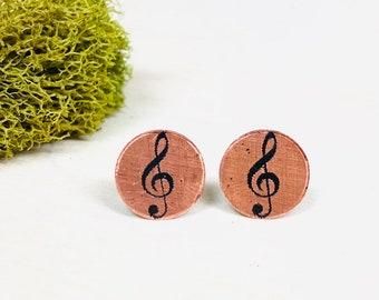 219e367ce Music Note Earrings | Music Teacher Gift | Cute Post Stud Earrings | Etched  Copper Earrings |Surgical Steel Earrings | Boho Bohemian Hippie