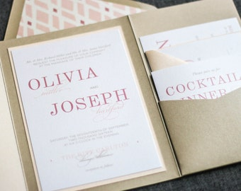 "Blush Pink Wedding Invitations, Romantic Wedding, Pocketfold Invitations, Champagne Wedding Invites - ""Classic Elegance"" PF-1L SAMPLE"