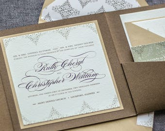 "Bronze Wedding Invitations, Steampunk Wedding Invitation, Elegant Wedding, Gold Pocket Invitations - ""Delicate Filigree"" PF-1L-v2 SAMPLE"
