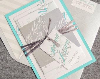 "Blue and Silver Invitation, Winter Wedding Invitation, Calligraphy Wedding Invites, Invitation Suite  - ""Sweeping Script"" FP-1L-v1 SAMPLE"