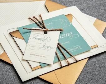 "Green Wedding Invitation Suite, Fall Rustic Invite Suite with Twine, Simple Wedding Invitations  - ""Modern Swirl & Flourish"" FP-NL-v1 SAMPLE"