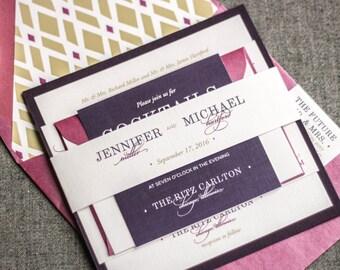 "Purple Wedding Invites, Elegant Wedding Invitation, Eggplant and Gold Wedding Invitations - ""Classic Elegance"" FP-1L-v2 SAMPLE"
