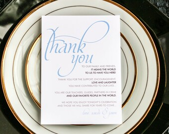 """Blue and Brown, Wedding Thank You, Calligraphy Thank You Sign, Reception Decor, """"Dramatic Script"""" Reception Thank You Sign 5 x 7 - DEPOSIT"""