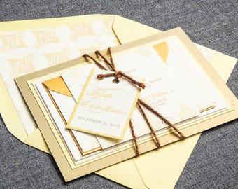 "Yellow Wedding Invitations, Destination Wedding, Cursive Wedding Invitation, Rustic Invitation Suite - ""Delicate Filigree"" FP-2L-v3 SAMPLE"