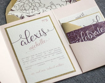 "Blush and Gold Wedding Invitations, Bat Mitzvah Invitation, Blush and Burgundy Baby Shower Invite Suite - ""Playful Calligraphy"" PF-1L SAMPLE"
