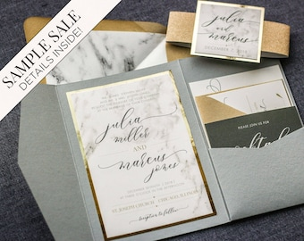 Wedding Invitation, Marble and Gold Foil Invitations, Calligraphy Script Pocketfold with Glitter, Luxury Set - Modern Elegance PF-1L SAMPLE